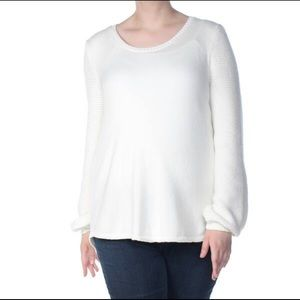 White Sweater Long Sleeves with Purl Details NEW